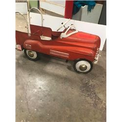 "PEDAL CAR, MURRAY FIRE TRUCK, TIN IS IN EX. COND. RUNNING GEAR GOOD 40"" L"