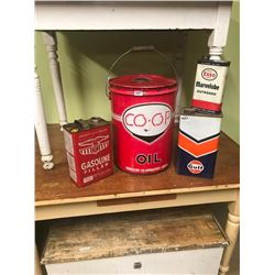 5 GAL. CO-OP PAIL & ESSO, GULF, EAGLE OIL TINS