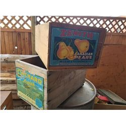 PAIR OF WOODEN FRUIT CRATES 1 APPLE, 1 PEAR