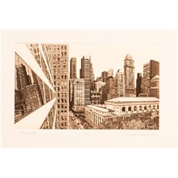 Martin Levine, View of the New York Public Library at Bryant Park, Etching