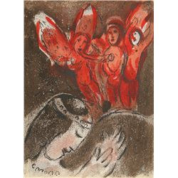 Marc Chagall, Sarah and the Angels from Drawings for the Bible, Lithograph