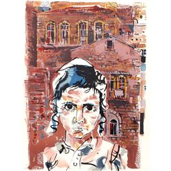 Moshe Gat, Student at Yeshiva from People in Israel, Lithograph