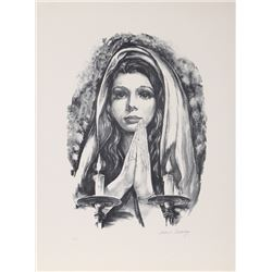 Vladimir Paskevay, Blessing the Candles, Lithograph