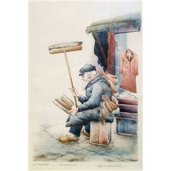 Seymour Rosenthal, The Brushman, Hand-Colored Lithograph