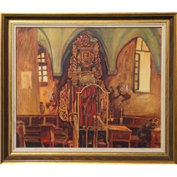 Inside the Synagogue, Offset Print, Mounted to Board