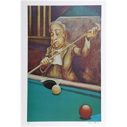Ernie Barnes, Pool Player, Offset Lithograph