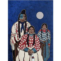 Kevin Red Star, Crow Indian Family, Serigraph