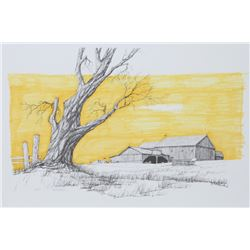 Hector Salas, Barn with Yellow Sky, Lithograph with Hand-Coloring