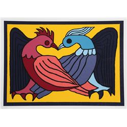 Victor Delfin, Two Kissing Doves, Serigraph
