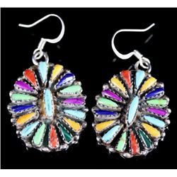 Signed Navajo Multi-Stone Needle Point Earrings