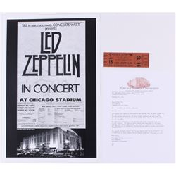 Lot Of 2 Led Zeppelin Concert Items With 1 Ticket 11x17 Poster Print Chica