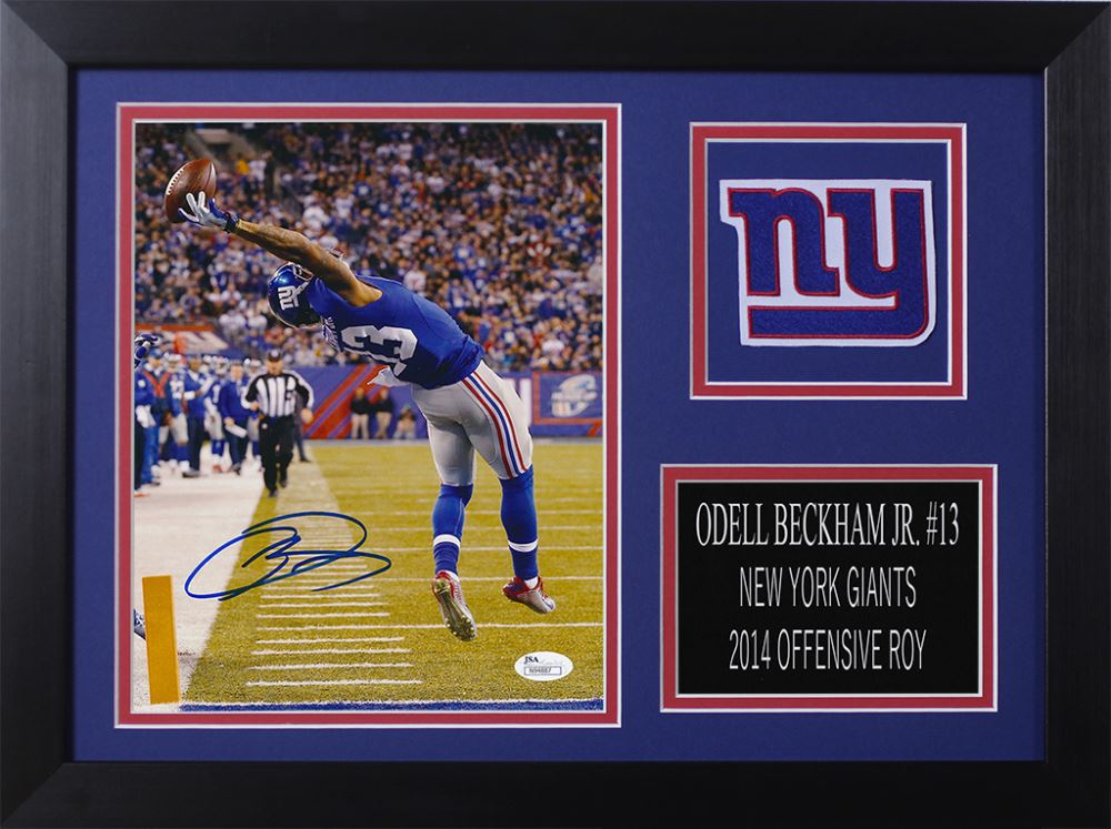 Image 1   Odell Beckham Jr. Signed Giants 14x18.5 Custom Framed Photo  Display b61fedd73