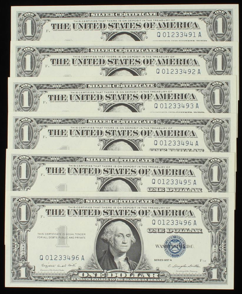 Lot Of 6 1957 A 1 One Dollar Us Silver Certificates With