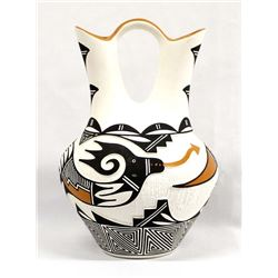 Acoma Carved Ceramic Wedding Vase by M. Patricio