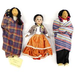 3 Rare Native American Cloth Bodied Dolls