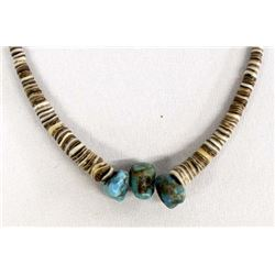 Santo Domingo Shell Heishi and Turquoise Choker