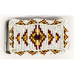 Vintage Native American Sioux Beaded Belt Buckle