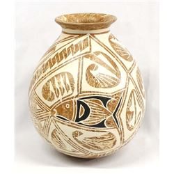 Mata Ortiz Marbleized Pottery Jar by Efrain Andrew