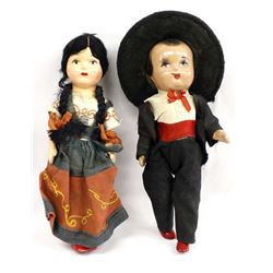 2 Vintage Mexican Composition Dolls by D. Coleman