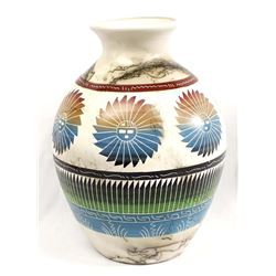 Large Navajo Hand Painted Etched Vase