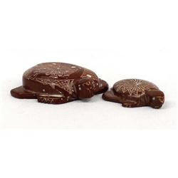 2 Zuni Carved Soapstone Turtle Fetishes by Cachini