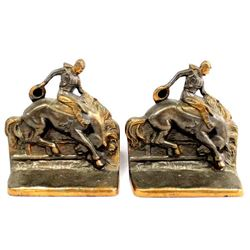 Ray E. Dodge Cast Iron Broncobuster Bookends