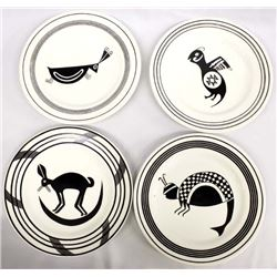 4 Anasazi Traders Mimbres Designed Plates