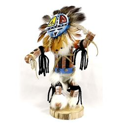 Navajo Carved Wood Sun Face Kachina by Ina James