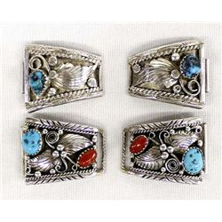 2 Sets of Navajo Sterling Turquoise Watch Tips