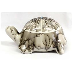 Navajo Etched Horsehair Pottery Turtle by Vail