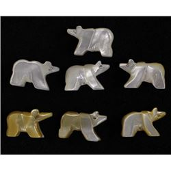 7 Zuni Mother of Pearl Miniature Bear Fetishes
