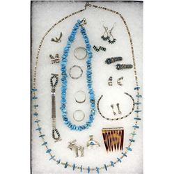 Collection of Native American Zuni, Navajo Jewelry