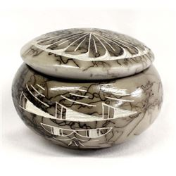 Native American Navajo Etched Pottery Lidded Box