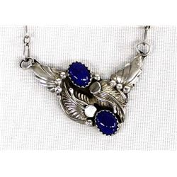 Native American Navajo Sterling Lapis Necklace