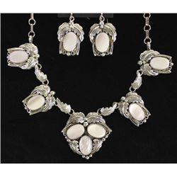 Navajo Silver Pink Mother of Pearl Necklace Set
