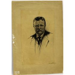 Etching Print of Theodore Roosevelt by J. Nuyttens