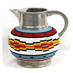 Hand Beaded Pewter Pitcher by Kills Thunder