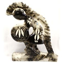 Navajo Etched Horsehair Pottery Kokopelli by Vail