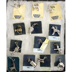 11 Vintage Sterling Silver Charms