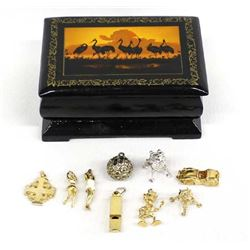 Ethnic Lidded Lacquer Box and 8 Charms