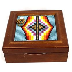 Hand Beaded Wood Jewelry Box by Kills Thunder