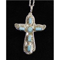 Beautiful Zuni Sterling Turquoise Cross Necklace