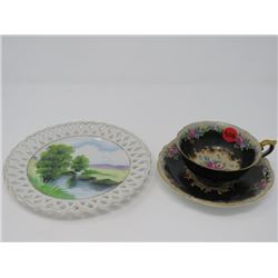TEA CUP/SAUCER, PLATE, MADE IN OCCUPIED JAPAN (SAUCER CHIPPED)
