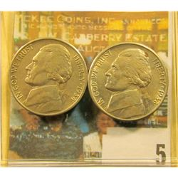Pair of 1938 S Jefferson Nickels, both grade at least EF-AU, maybe slightly better.