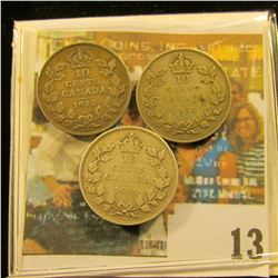 1917, 19, & 36 Canada Silver Dimes, all grading VG & up.