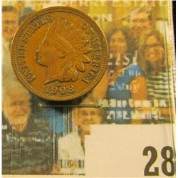 1908 P Indian Head Cent, EF.