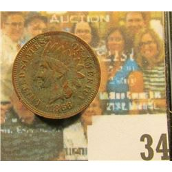 1866 Indian Head Cent, Fine, dark. In original A & A Coin envelope from when it was owned by Dean Oa