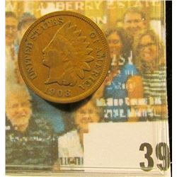 1908 S Indian Head Cent, Fine.