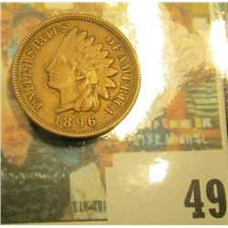 1896 Indian Head Cent, Brown EF.