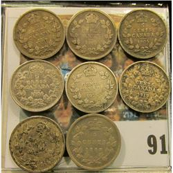 1899, 1905, 1906, 1907, 1908, 13,  19, & 1920 Canada Five Cent Silvers.